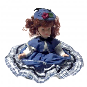 BAMBOLINA di porcellana con vestito e cappello blu