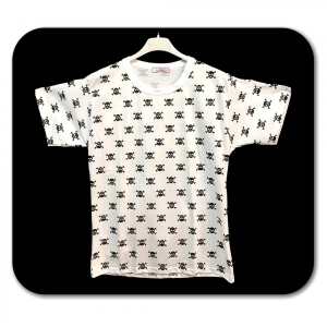 T-shirt bianca con teschi neri adulto - Taglie S/L