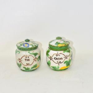 Coppia Vasetti In Ceramica The E Cacao Dipinti