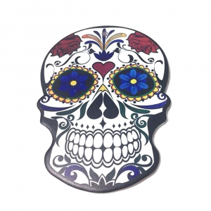SOTTOPENTOLA teschio messicano in ceramica e sughero