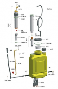 Ricambi per pompa a zaino SUPER LT.20 pompante in acciaio inox