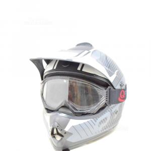 Casco Motocrosso Qtech Nero Grigio Bianco Con Mascherina