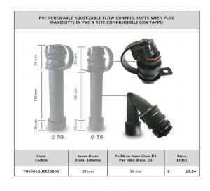 Manicotto in PVC a vite comprimibile con tappo Ø 50 per lavapavimenti - Cod: TU000SQUEEZ5000