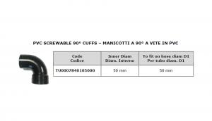 Manicotto a 90° a vite in PVC Ø 50 per lavapavimenti - Cod: TU0007840105000
