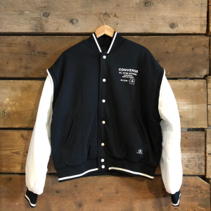 FLEECE BOMBER JACKET VARSITY BLACK/WHITE
