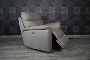 Poltrona relax in pelle colore grigio con recliner elettrico