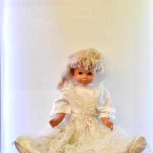 Bambola Vintage 1mt Vestito Bianco