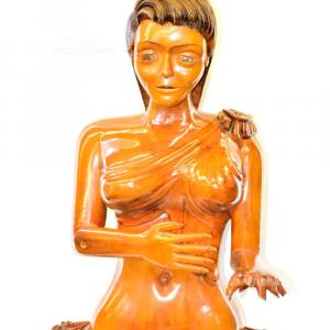 Mezzo Busto Donna In Legno 65cm (dita Di Una Mano Spezzate)