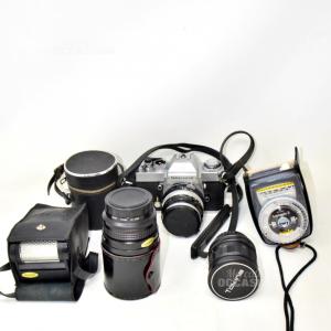 Macchina Fotografica Nikon Japan 5266818 Nikkormat Funzionante Con Flash +2 Obbiettivi