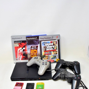 Play Station 2 Slim Nera Sony Compresa Di 3 Joystic + 3 Memory Card + 3 Giochi