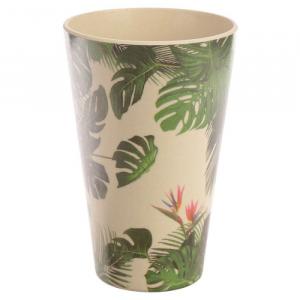 Tazza in Bambù con Foglie Verdi Tropicali