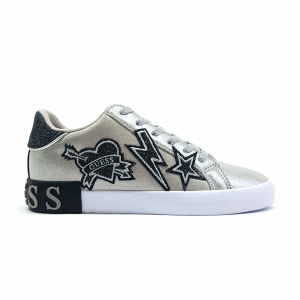 Sneaker argento con patch Guess