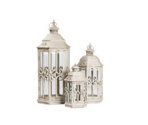 Tris di tre lanterne in ferro bianche