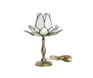 Lampada da tavolo Tiffany fior di loto bianca
