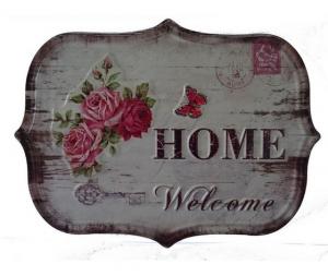 Targa in metallo home welcome