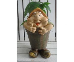 Gnomo da giardino porta piante cappello arancio