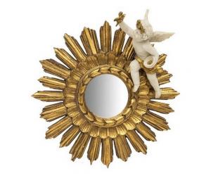 Specchio oro da parete a forma di sole con angelo bianco