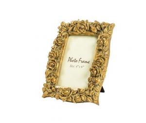 Portafoto resina oro barocco rose