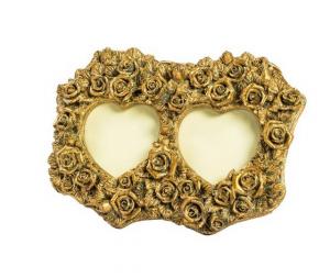 Portafoto resina oro barocco cuori due posti rose