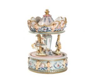 Carillon giostra girevole con cavalli e angeli