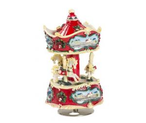 Carillon giostra musicale natalizia rossa