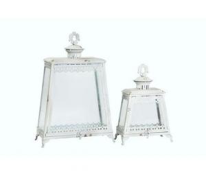 Set due lanterne in ferro bianco anticato