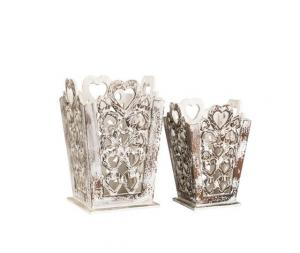 set di 2 cestini in legno bianco