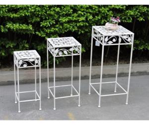 Set 3 alzatine portafiori in ferro bianco