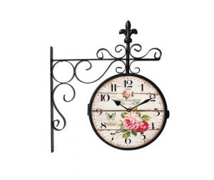 Orologio doppio braccio in ferro quadrante fantasia floreale