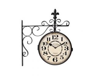 Orologio doppio braccio in ferro quadrante Cafè du Parc