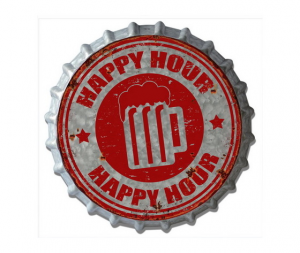 Targa metallo Tappo birra Happy Hour