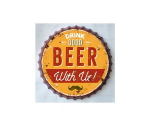 Targa metallo Tappo birra Drink Good Beer