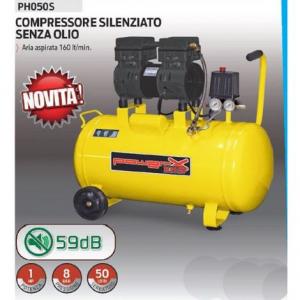 Powerx compressore silenziato 50lt  senza olio 1 hp 8 bar