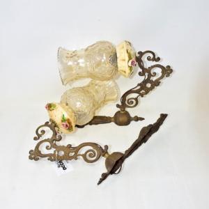 Coppia Abatjour Antichi Ceramica Di Bassano E Vetro