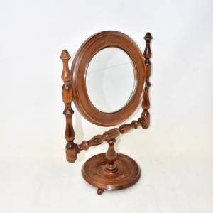 Specchio Da Camera Con Supporto In Legno