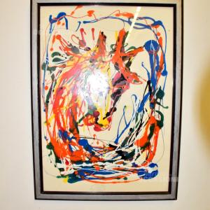 Quadro Dipinto Su Tela 74*55 Cm Astratto Colorato
