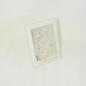 Icona Sacra Argentata Su Vetro 13x18cm