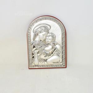Icona Sacra Argentata Su Legno Ad Arco