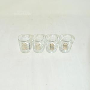 4 Bicchierini Placca Argentata