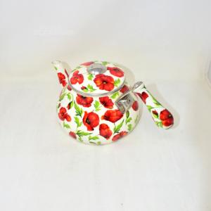 Teiera Ceramica Bianca Papaveri