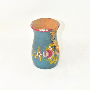 Vasetto Legno Dipinto Lacci Corda 11cm