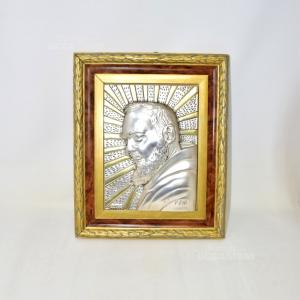 Icona Di Padre Pio Argentata