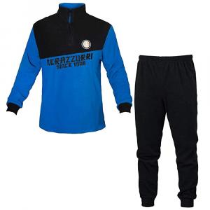 INTER pigiama nero/azzurro in pile adulto - Taglie S/XXL