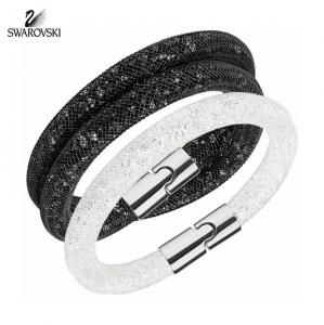 Swarovski Bracelets Set STARDUST Double Jet Black/ Single White