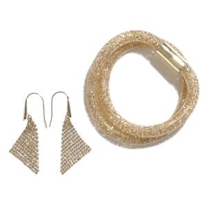 Swarovski Stardust Deluxe Set, Bracelete + Fit Earrings Golden Crystal
