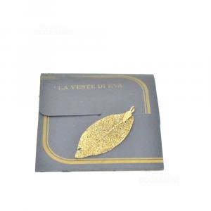 Ciondolo Foglia Bagnata Oro Originale La Veste Di Eva