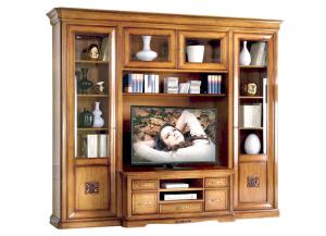 Mueble de pared, mueble de tv en madera estilo clásico