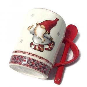 TAZZA gnomo con cucchiaino in ceramica