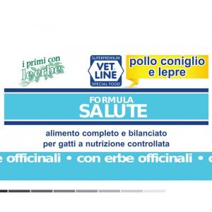 Vet Line Umido Gatto Salute  Pollo Coniglio Lepre 85 gr