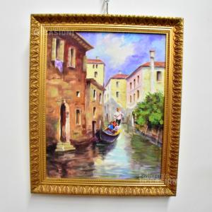 Quadro Dipinto 59*49 Cm Venezia Con Gondoliere